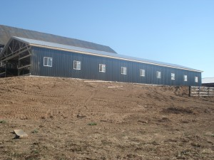 Side of the Barn with the Metal On and Windows In